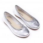 Bailarina piel metalizada plata, tallas 31-35.
